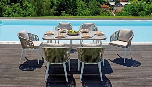 Set da giardino da pranzo DINING SET PORTOVENERE tavolo in alluminio bianco 160 x 90 e 6 sedie DSA 10