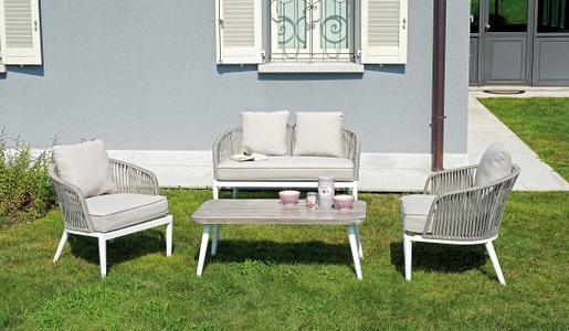 Salotto da giardino SET PORTOVENERE in alluminio e corda SET 101