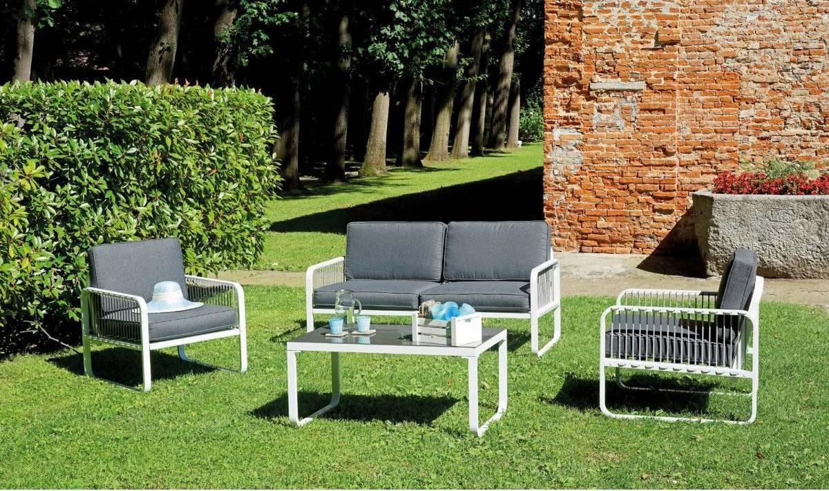 Arredamento Bianco E Corda : Salottino da giardino set san fruttuoso in alluminio e corda