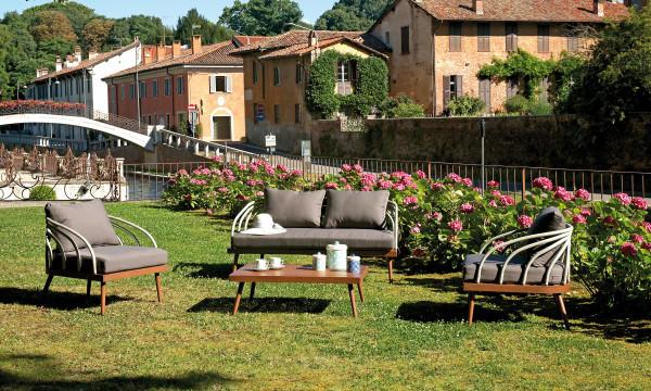 Salottino da giardino SET IMPERIA in alluminio color legno e corda grigio SET 104 FINE SERIE