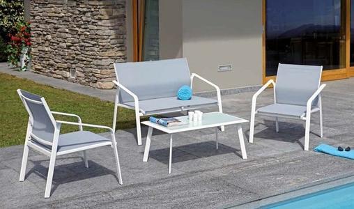 Salottino da giardino SET BERGEGGI 2 poltrone 1 divano e tavolino in epoxy bianco sandy CSF 12