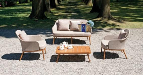 Salottino da giardino SET ALBISSOLA in alluminio effetto legno SET 114