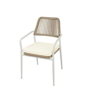 Sedia da giardino in alluminio bianco SEDIA PEGLI impilabile in corda beige CHA 41