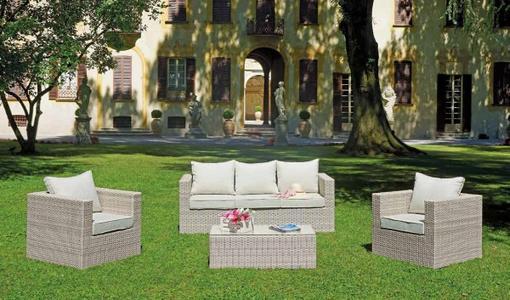 Salotto da giardino SET SANTIAGO in rattan sintetico con 1 divano 3 posti 2 poltrone e tavolino in twin wicker SET 112