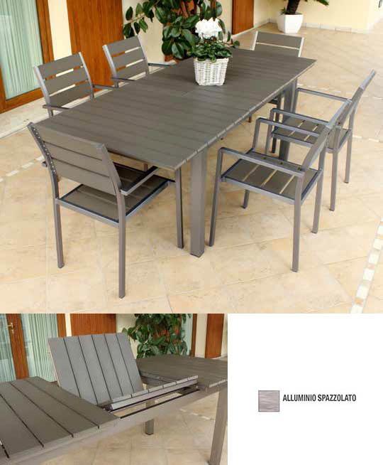 Tavolo alluminio in polywood grigo alluminio spazzolato TORONTOS ALLUNGABILE 160/220 X 90 cm