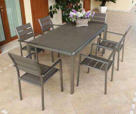 tavolo da pranzo torontos 180 x 90 in alluminio e polywood