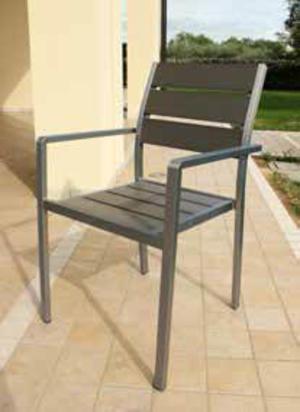 Sedia alluminio TORONTOS POLYWOOD grigio impilabile