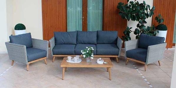 Salotto in wicker DUBAIS in alluminio divano 3 posti 2 poltrone e tavolino