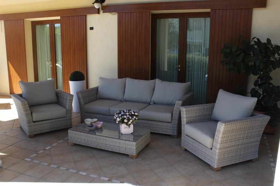 Salotto da giardino in wicker GIAVAVA in alluminio GRIGIO con divano 3 posti super qualità