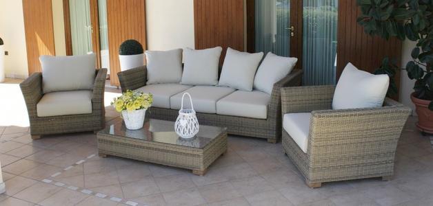 Salotto da giardino in wicker GIAVAVA in alluminio NOCCIOLA con divano 3 posti super qualità
