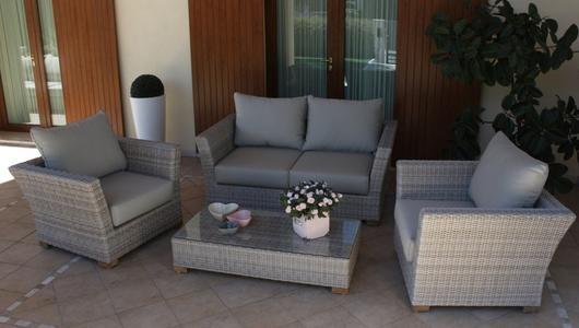 Salotto da giardino in wicker GIAVANINA in alluminio GRIGIO con divano 2 posti super qualità