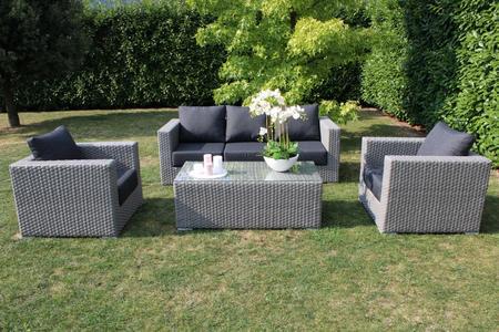 Salotto da giardino in wicker SALOTTO PANAYS divanetto 4 posti 2 poltrone e tavolino in alluminio colore GRIGIO SCURO