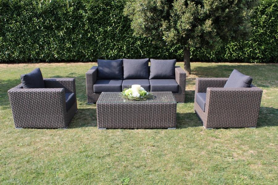 Salotto da giardino in wicker SALOTTO PANAYS divanetto 4 posti 2 poltrone e tavolino in alluminio colore MARRONE