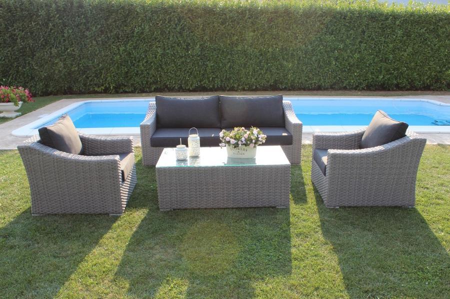 Salotto da giardino in wicker SALOTTO ZANZAROTES con divano 3 posti in alluminio wicker grigio SCURO