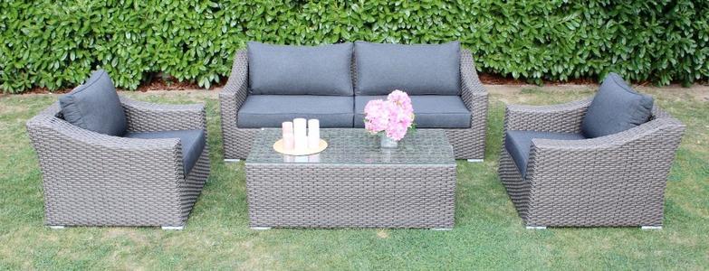 Salotto da giardino in wicker SALOTTO ZANZAROTES con divano 3 posti in alluminio wicker grigio MARRONE