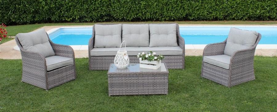 Salottino in wicker SALOTTO MENPHIS con divano 3 posti in alluminio e wicker grigio