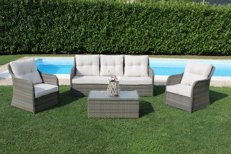 Salottino in wicker SALOTTO MENPHIS con divano 3 posti in alluminio e wicker MARRONE