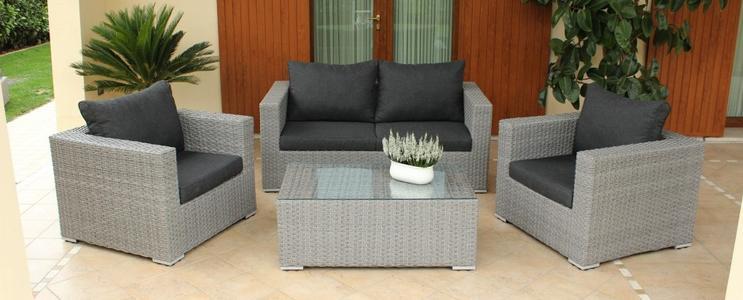 Salotto da giardino in wicker MELVILLE con divano 2 poltrone e tavolino in alluminio e wicker GRIGIO SCURO