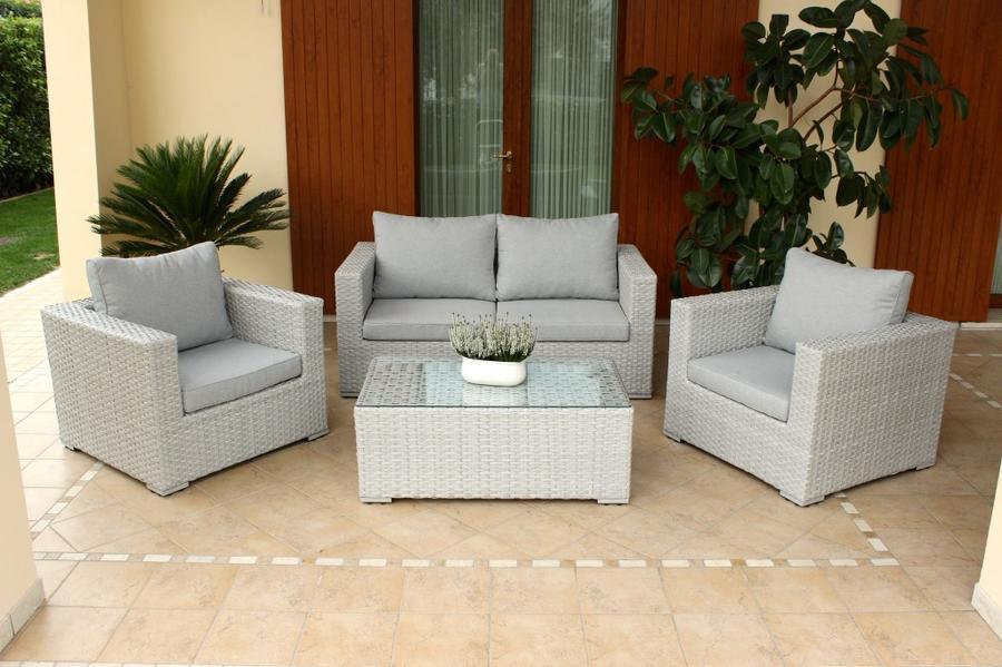 Salotto da giardino in wicker MELVILLE con divano 2 poltrone e tavolino in alluminio e wicker GRIGIO CHIARO