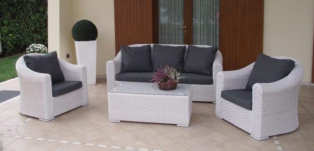 Salotto da giardino in wicker tondo SALOTTO IMPERIALE MONTECARLO divano 3 POSTI in alluminio wicker BIANCO