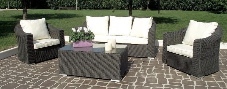 Salotto da giardino in wicker tondo SALOTTO IMPERIALE MONTECARLO divano 3 POSTI in alluminio wicker MARRONE