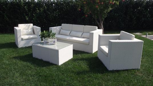 Salottino da giardino in wicker SALOTTO ACAPULCOS con divano 3 POSTI in alluminio e wicker BIANCO