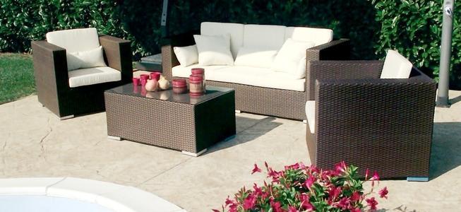Salottino da giardino in wicker SALOTTO ACAPULCOS con divano 3 POSTI in alluminio e wicker MARRONE