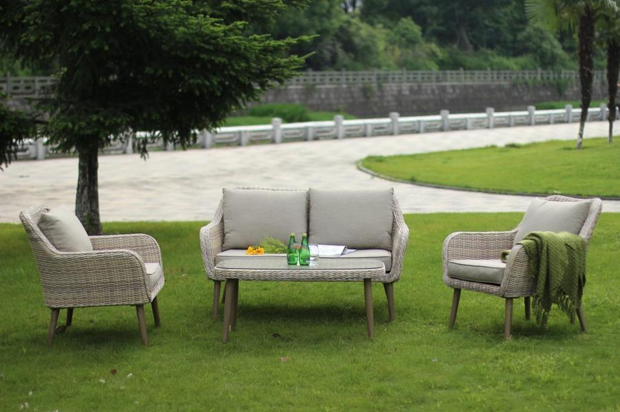 Salotto da giardino in wicker MARIONES in alluminio e wicker NOCCIOLA
