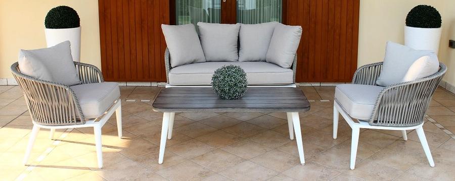 Salotto da giardino in wicker SALOTTO GRANADAS in alluminio e wicker corda Grigio