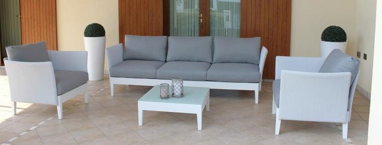 Salotto da giardino SALOTTO TREVISO IMPERIALE con divano 3 POSTI in alluminio e textilene BIANCO
