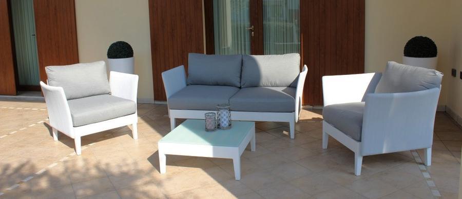 Salotto da giardino SALOTTO TREVISO MINUS con divano 2 POSTI in alluminio e textilene BIANCO