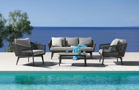Salotto da giardino SALOTTO TRIESTE 3 POSTI IMPERIALE con divano 3 posti in alluminio e corda sintetica ANTRACITE