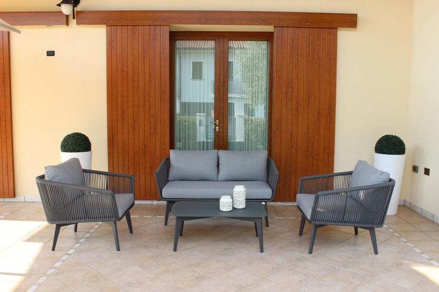Salotto da giardino SALOTTO TRIESTE 2 POSTI IMPERIALE con divano 2 posti in alluminio e corda sintetica ANTRACITE
