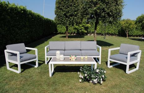 Salotto da giardino SALOTTO SINGAPOR IMPERIALE 3 POSTI con divano 3 posti in alluminio col BIANCO