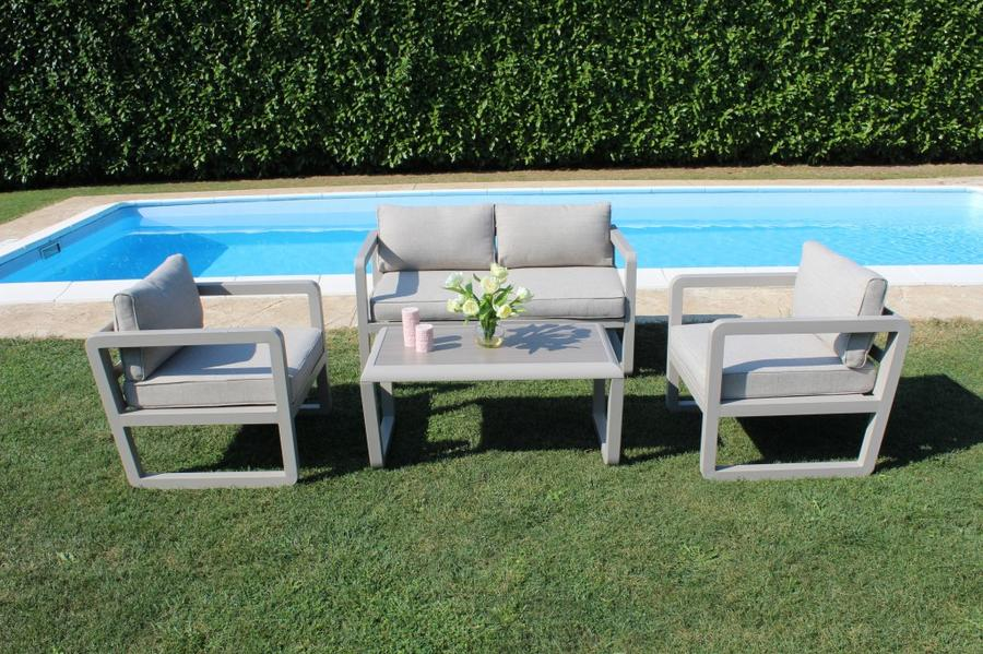 Salotto da giardino SALOTTO SINGAPOR IMPERIALE 3 POSTI con divano 3 posti in alluminio col TORTORA