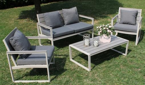 Salotto da giardino in polywood SALOTTO SIRIOS in alluminio colore TORTORA