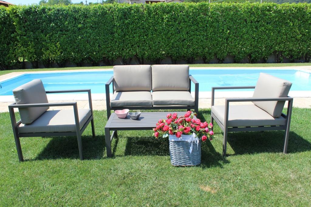 Salottino da giardino in alluminio salotto trento con for Salotto da terrazzo