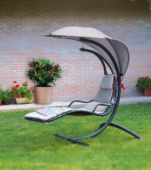 Dondolo lettino da giardino relax MONIGA supporto metallo telo poliestere textilene GRIGIO