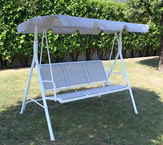 Dondolo da giardino DONDOLO MALCESINE 3 posti in metallo bianco e textilene grigio chiaro