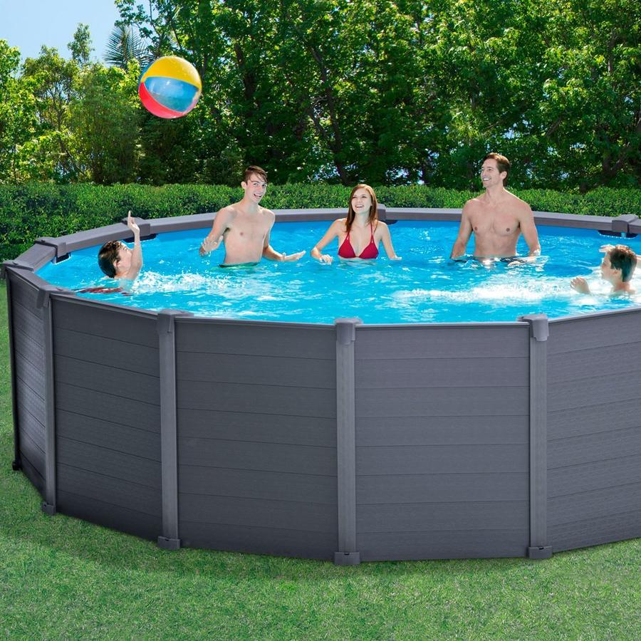 Piscina fuori terra intex 28382 graphite rotonda 478x124 for Piscine intex graphite