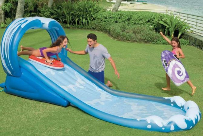 Scivolo Gonfiabile INTEX 57469 Gioco Acquatico Bambini cm 442x168x163 Surf Slide 57469