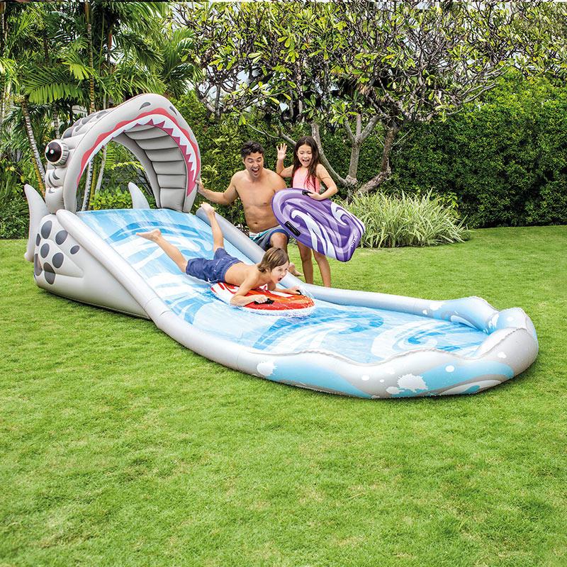 Gioco Da Giardino Gonfiabile Bambini SURF'N SLIDE INTEX 57159 scivolo squalo acquatico
