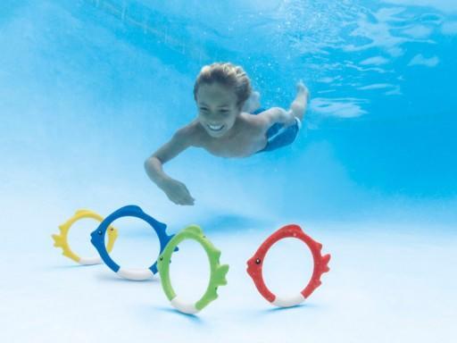 Immersioni subacquee INTEX 55507 Piscina Giocattolo per bambini Gioca Anelli di pesce subacqueo Bastoni, 4 pezzi