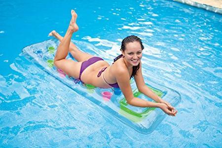 Materassino 18 Buchi Trasparente per piscina mare Intex 59894 misura 188 x 71 cm