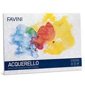 BLOCCO ALBUM DISEGNO ACQUERELLO FAVINI T4 10 FOGLI 25x35