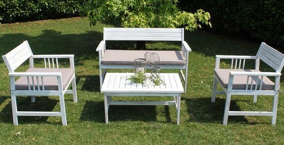 Salottino da giardino SALOTTO BALIS con cuscini in legno acacia BIANCO