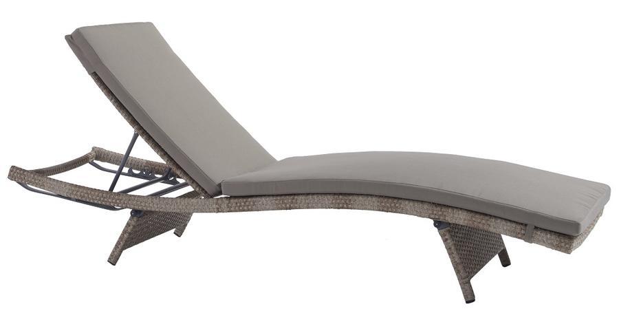 Lettino prendisole in wicker LETTINO LULUBI con cuscino in alluminio e wicker MARRONE