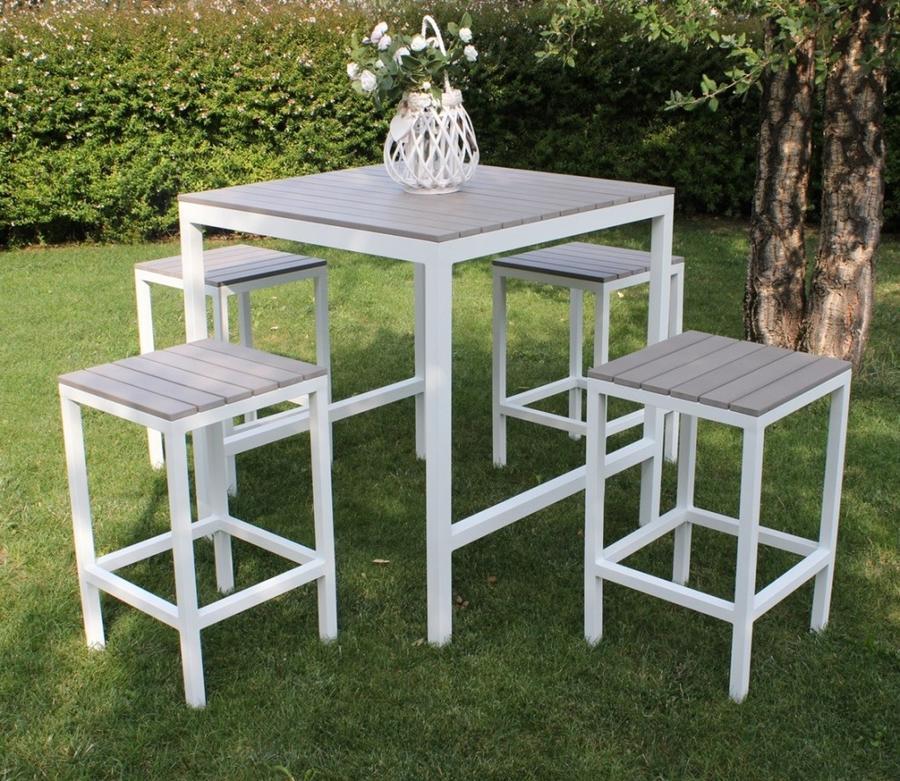 Set Bar tavolo 4 sedie alti  COMPLETO BAR SIRIUS in polywood grigio e alluminio bianco