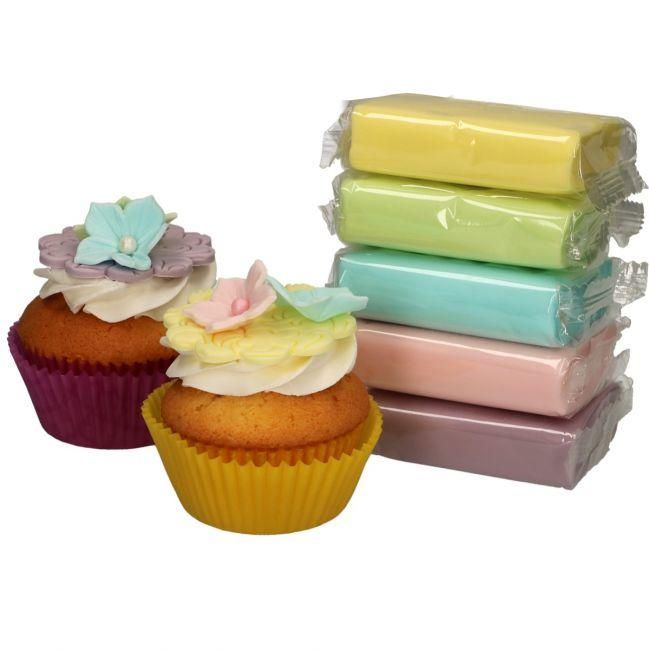 Confezione multipla pasta di zucchero Funcakes colori pastello