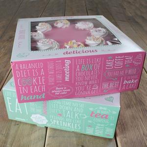 Set 2 scatole quadrate per dolci modello citazioni 26 x 26